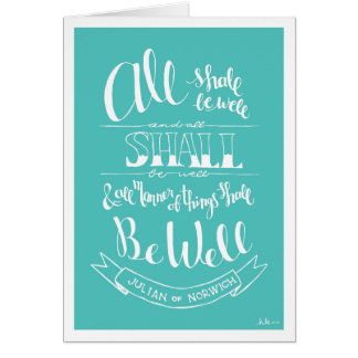 """Handlettered """"All Shall Be Well"""" - Notecard"""
