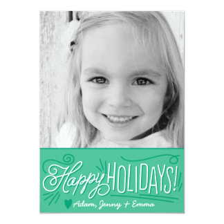 Handlettered Holiday Greetings Photo Card 13 Cm X 18 Cm Invitation Card