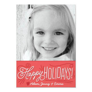 Handlettered Holiday Greetings Photo Card RED 13 Cm X 18 Cm Invitation Card