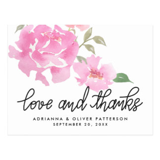 Handlettered Love And Thanks Pink Peonies Flowers Postcard