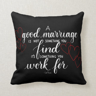 Handlettered Marriage Quote Throw Pillow, Black Cushion