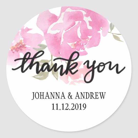 Handlettered Thank You Pink Peonies Flowers Classic Round