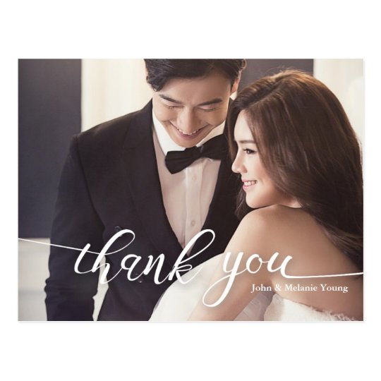 HANDLETTERING SCRIPT WEDDING THANK YOU POSTCARD