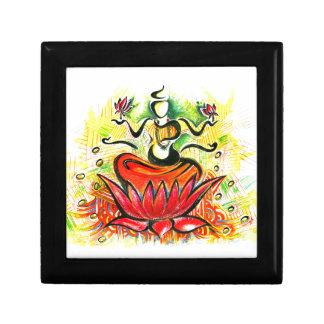 Handmade Abstract Painting of Lakshmi Maa Small Square Gift Box