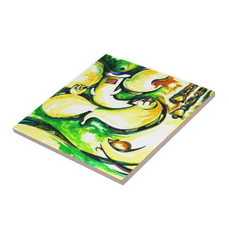 Handmade Abstract Painting of Lord Ganesha Small Square Tile