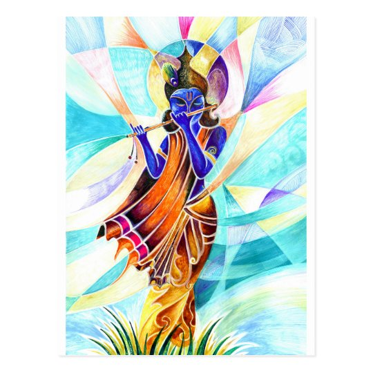 Handmade Abstract Painting of Lord Krishna with fl