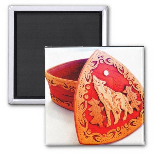 Handmade Birch Wood Jewelry Box with Howling Wolf Refrigerator Magnet