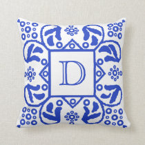 Handmade Blue White Custom Monogram Cushion