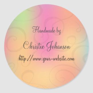 Handmade by - curl design classic round sticker