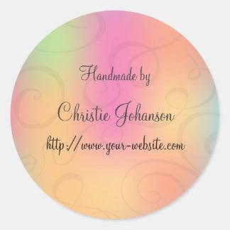 Handmade by - curl design round sticker