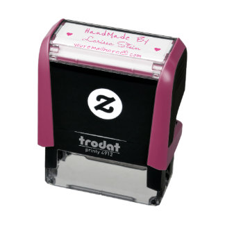 handmade by (custom text) + name, pink feminine self-inking stamp