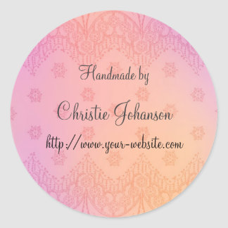 Handmade by - floral design classic round sticker