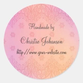 Handmade by - floral design round sticker