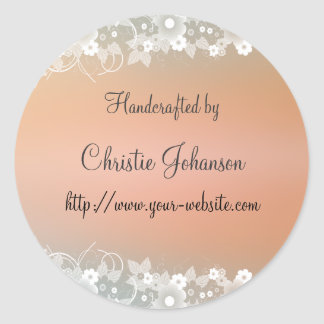 Handmade by - floral design round sticker