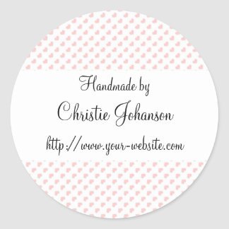 Handmade by - hearts design classic round sticker