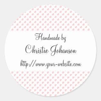 Handmade by - hearts design round sticker