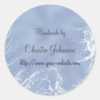 Handmade by - splashes design round sticker