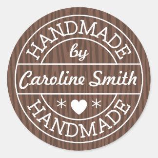 Handmade by stamp on dark wood personalized name round sticker