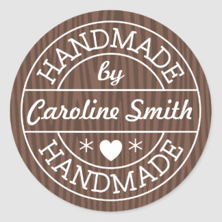 Handmade by stamp on dark wood personalized name round stickers