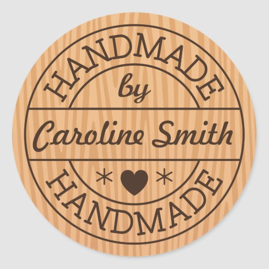 Handmade by stamp on wood personalised name classic round sticker