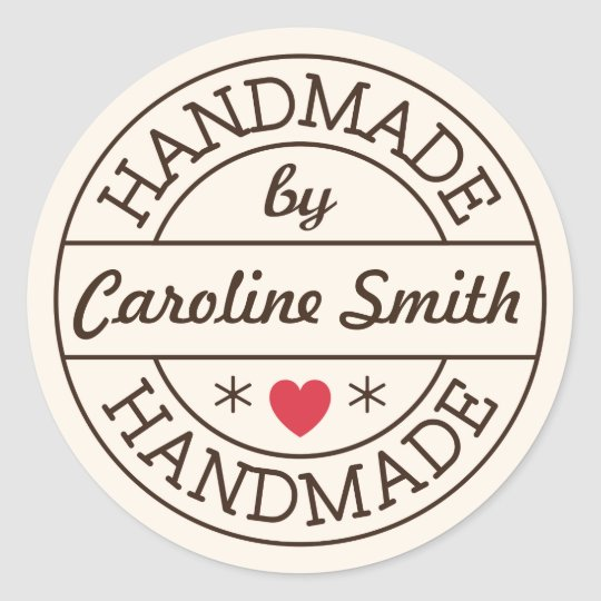 Handmade by stamp red heart personalised name round