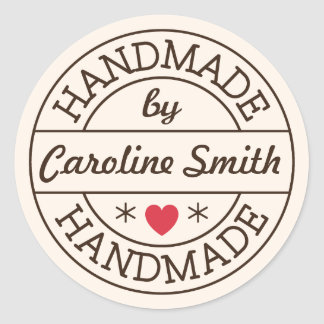 Handmade by stamp red heart personalized name round sticker