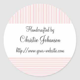 Handmade by - stripes design classic round sticker