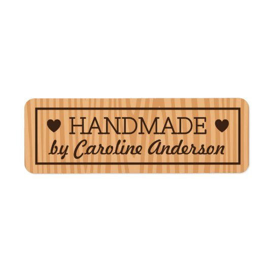 Handmade by wood background hearts custom name