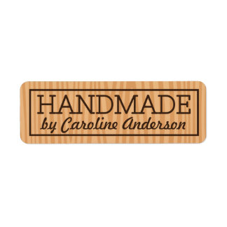 Handmade by wood background personalized name return address label