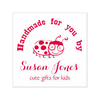 handmade for you by personalized cute ladybug self-inking stamp