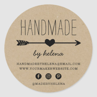 Handmade Heart | Rustic Kraft Look Classic Round Sticker