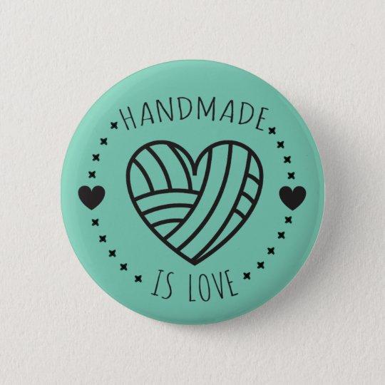 Handmade is Love Yarn Heart 6 Cm Round Badge