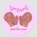 """""""Handmade Just for You"""" holiday sticker"""