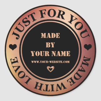 Handmade Just For You Made Love Copper Black Rose Round Sticker