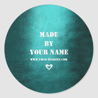 Handmade Just For You Made With Love Teal Teal Classic Round Sticker