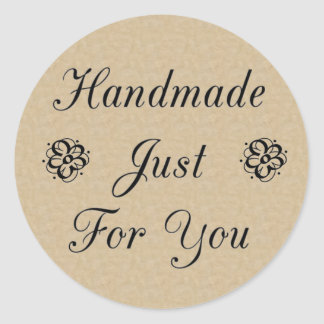 Handmade Just For You on Kraft Look Background Classic Round Sticker