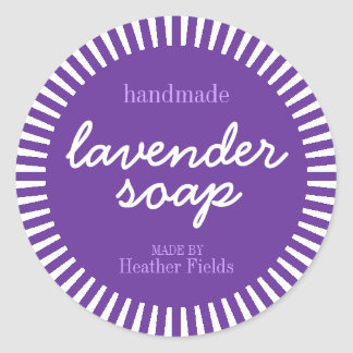 Handmade Lavender Soap Round Label Template Classic Round Sticker