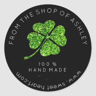 Handmade Logo From Name Web Green Clover Leaf Classic Round Sticker