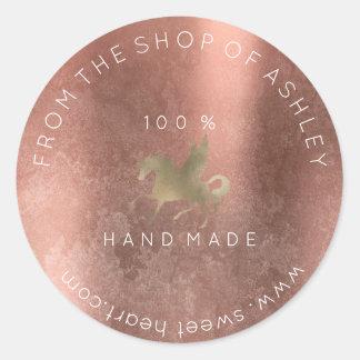 Handmade Logo Name Web Grungy Unicorn Rose Gold Classic Round Sticker