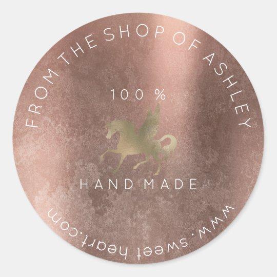Handmade Logo Name Web Grungy Unicorn Rose Gold