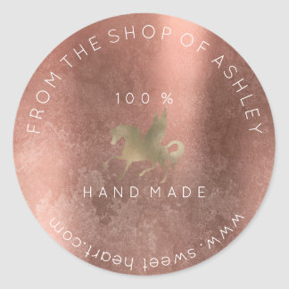 Handmade Logo Name Web Grungy Unicorn Rose Gold Round Sticker