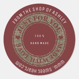 Handmade Logo Name Web Heart Love Maroon Gold Classic Round Sticker