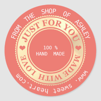 Handmade Logo Name Web Hearts Love Gold Coral Classic Round Sticker