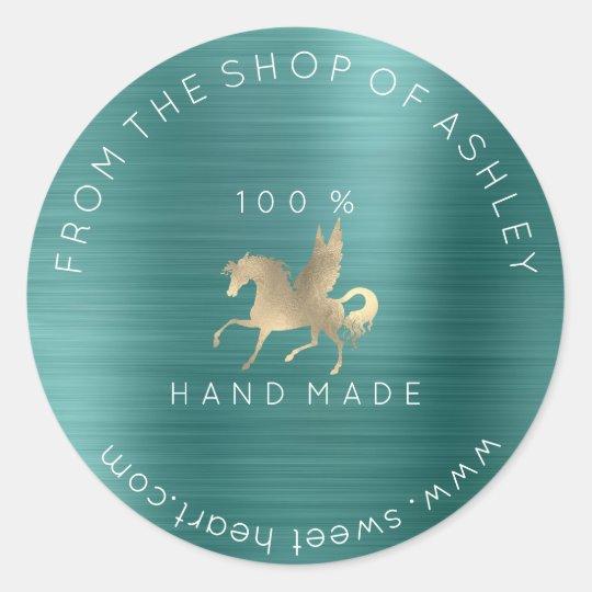 Handmade Logo Name Web Horse Teal Green Gold