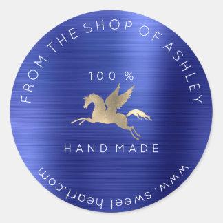 Handmade Logo Name Web Pegasus Cobalt Blue Gold Classic Round Sticker