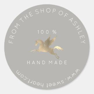 Handmade Logo Name Web Pegasus Horse Gray  Gold Classic Round Sticker