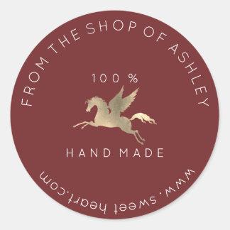 Handmade Logo Name Web Pegasus Horse Maroon Gold Classic Round Sticker
