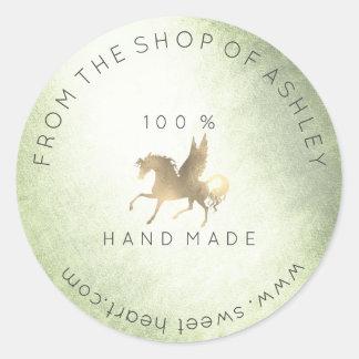 Handmade Logo Name Web Pegasus Horse Mint Gold Classic Round Sticker