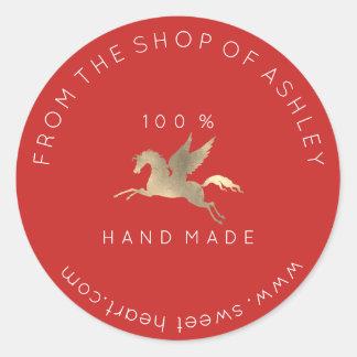 Handmade Logo Name Web Pegasus Horse Red Gold Classic Round Sticker