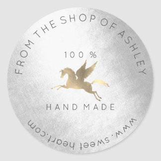 Handmade Logo Name Web Pegasus Horse Silver Gold Classic Round Sticker